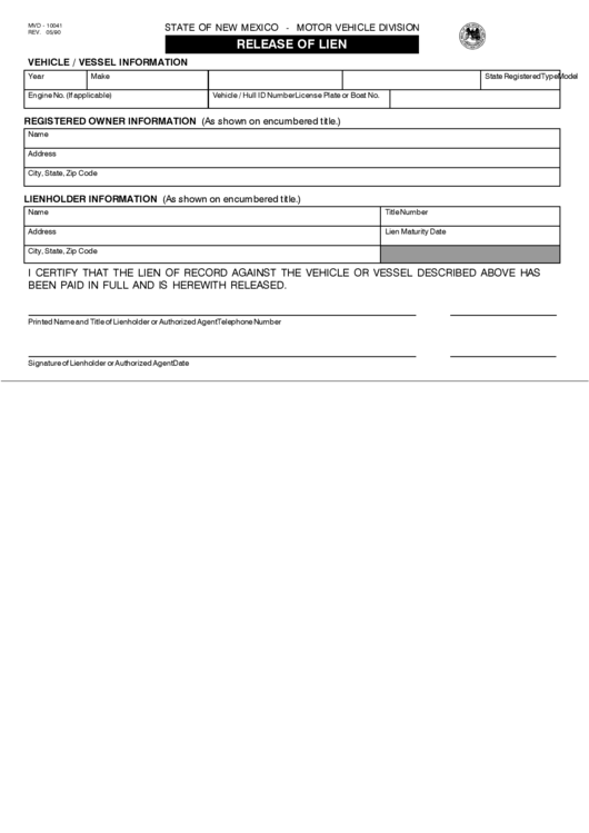 form mvd - 10041 - release of lien