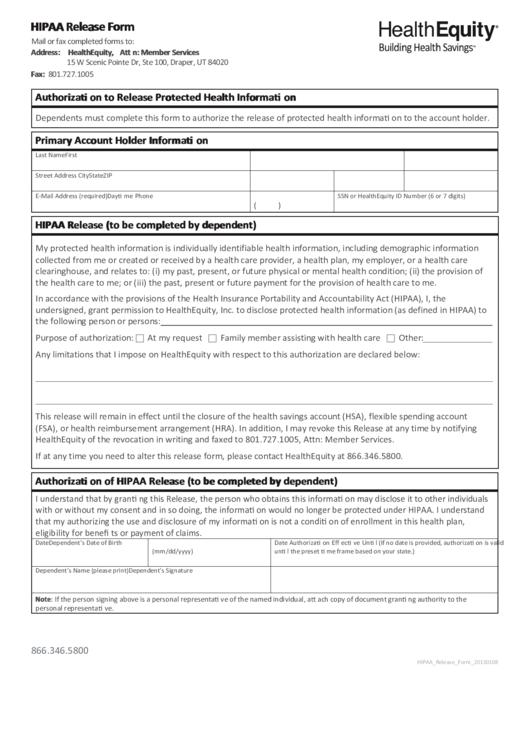 Healthequity Hipaa Release Form Printable pdf