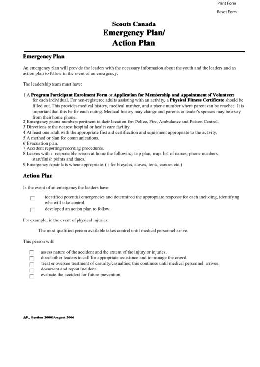 Scouts Canada Emergency Plan Action Plan Printable Pdf