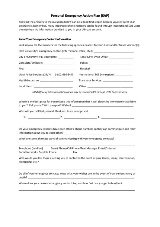 Personal Emergency Action Plan (Eap) printable pdf download