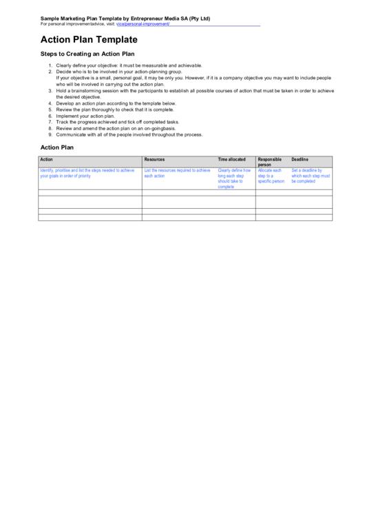 Action Plan Template Printable pdf