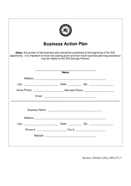 Business Action Plan Printable pdf