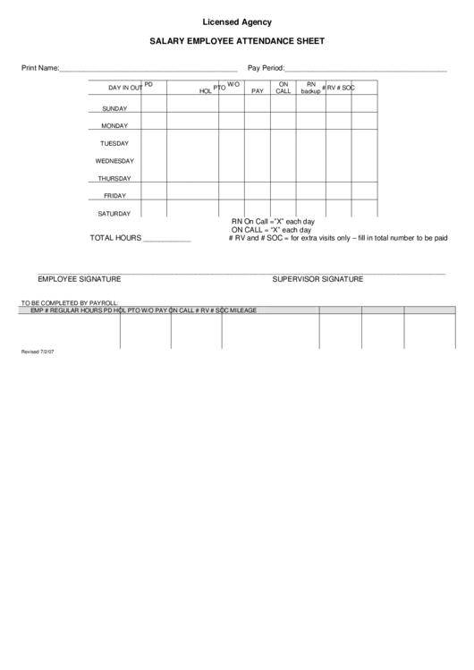 Salary Employee Attendance Sheet
