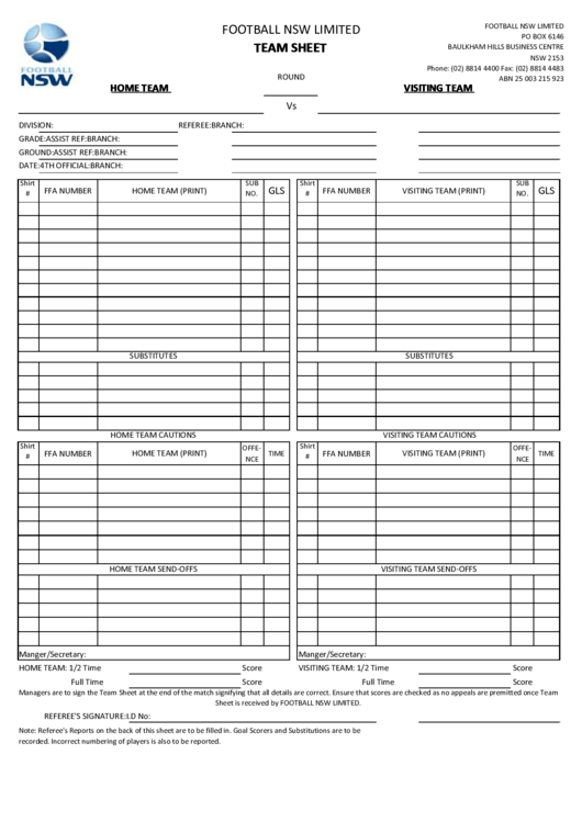 Football Nsw Limited Team Sheet Template