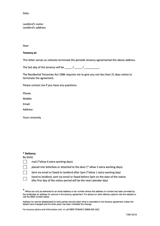 Periodic Tenancy Termination Letter Template