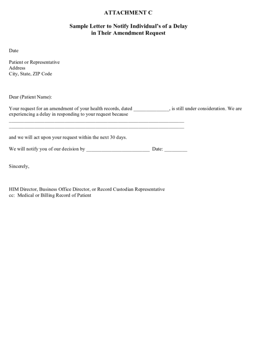 sample letter to notify individuals of a delay in their amendment request