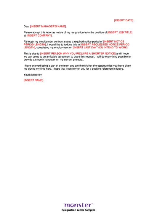 Short Notice Resignation Letter Template Printable pdf