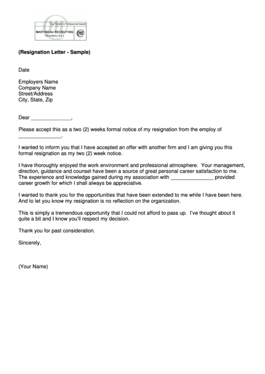 Sample 2 Weeks Notice Resignation Letter Template Printable pdf
