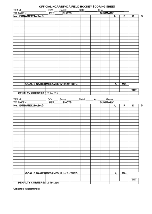 Official Ncaa/nfhca Field Hockey Scoring Sheet printable pdf download
