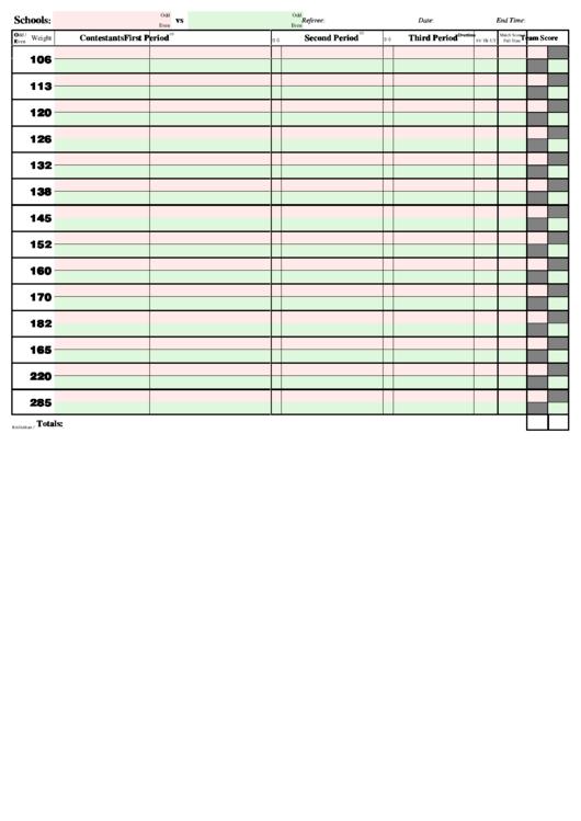 Score Sheet Template Printable pdf