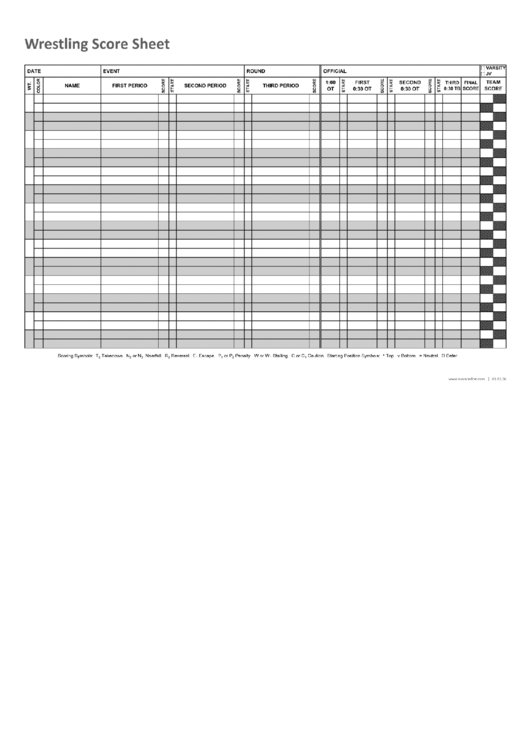 Wrestling Score Sheet printable