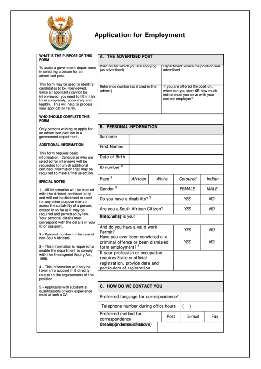 Application Form For Employment Printable pdf