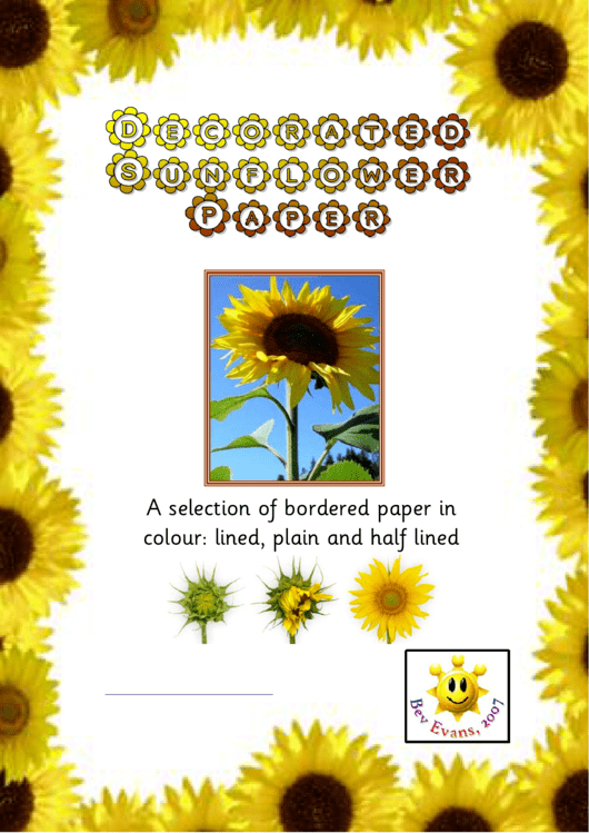 Decorated Sunflower Border Paper Printable pdf