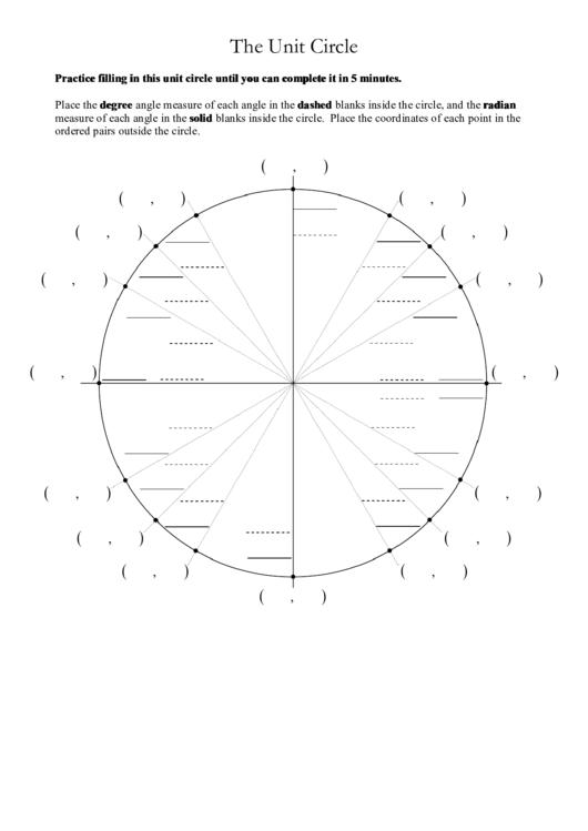 Unit Circle Template Pdf