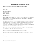 Formal Letter/tax Donation Receipt