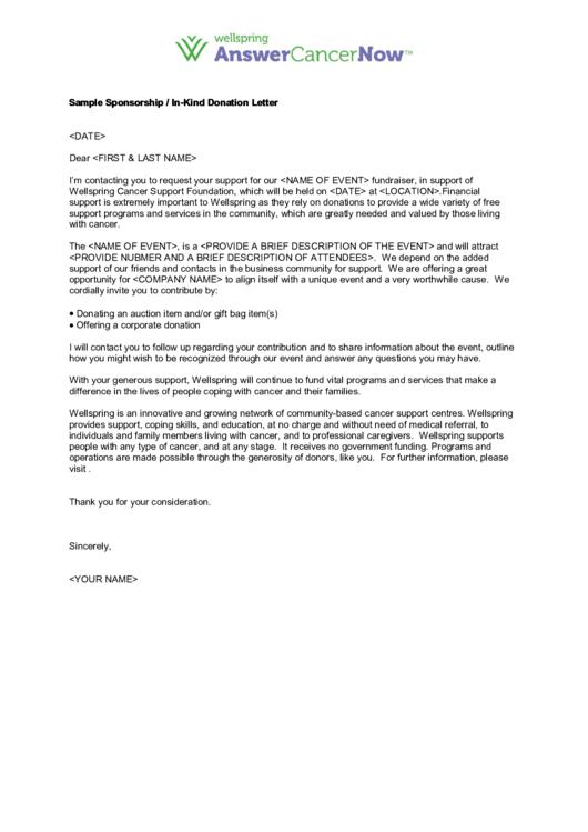 Sample Sponsorship/in-Kind Donation Letter Template Printable pdf