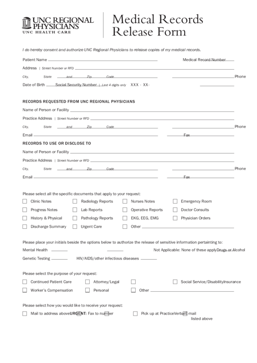 unc regional physicians medical records release form printable pdf