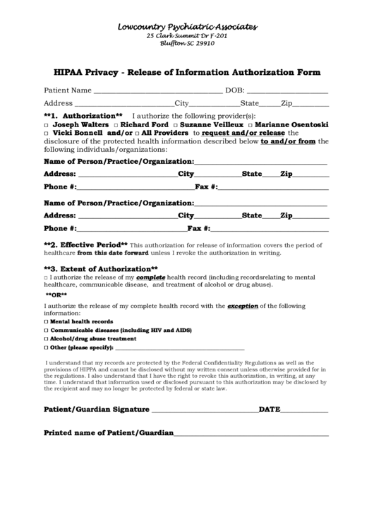 Hipaa Privacy - Release Of Information Authorization Form Printable pdf