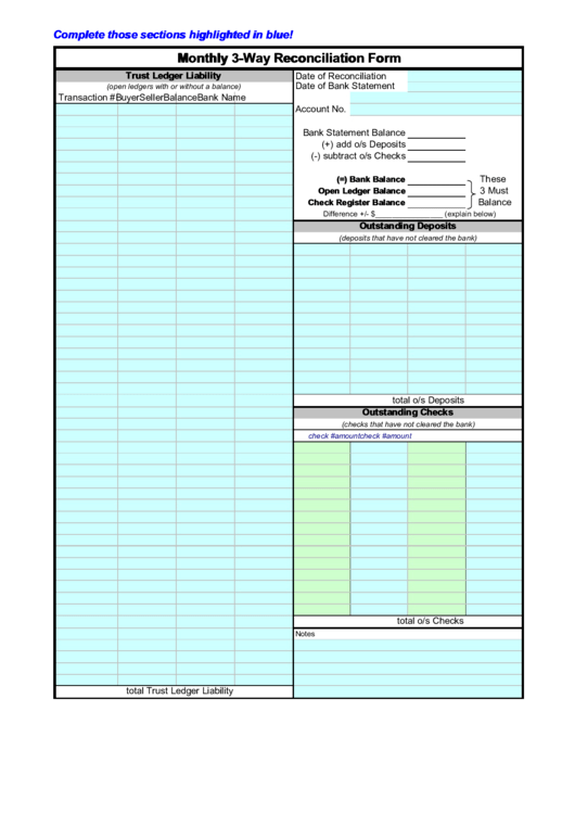 Monthly 3-Way Reconciliation Form Printable pdf