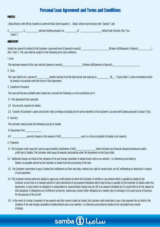 Personal Loan Agreement And Terms And Conditions Printable