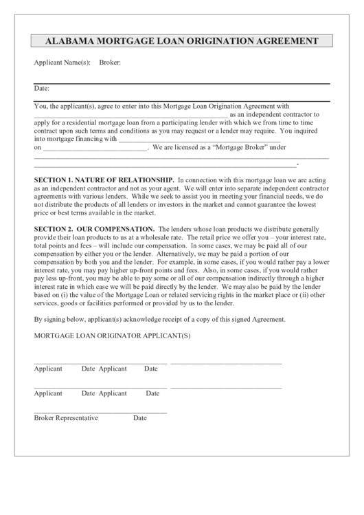 alabama mortgage loan origination agreement template printable pdf download. Black Bedroom Furniture Sets. Home Design Ideas