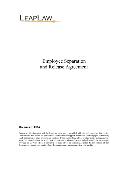 Employee Separation And Release Agreement