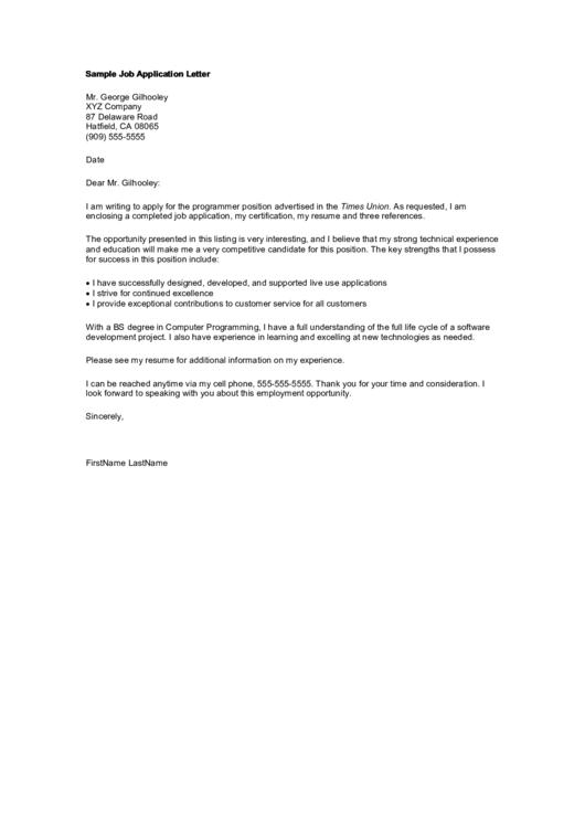Sample Job Application Letter Template