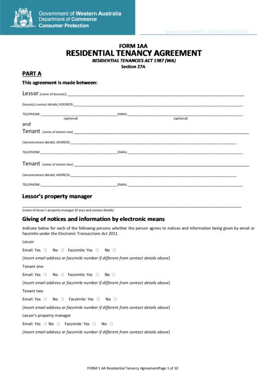 Form 1aa - Residential Tenancy Agreement Printable pdf