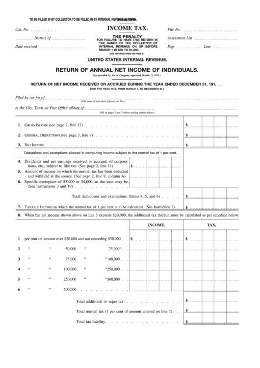 Form 1040 - Return Of Annual Net Income Of Individuals - 1913 Printable pdf