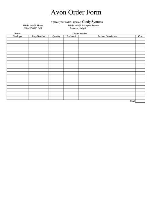 Avon Order Form Printable pdf