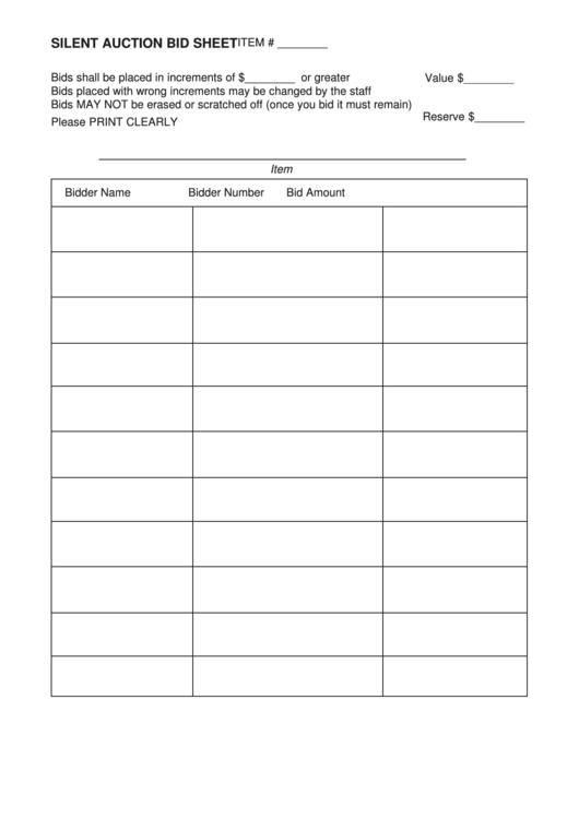 Silent Auction Bid Sheet Printable pdf