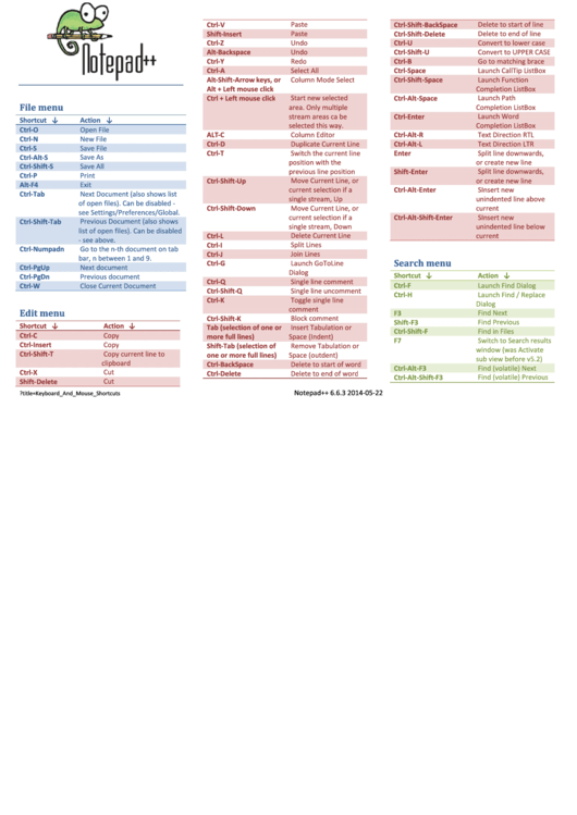 Notepad Reference Sheet