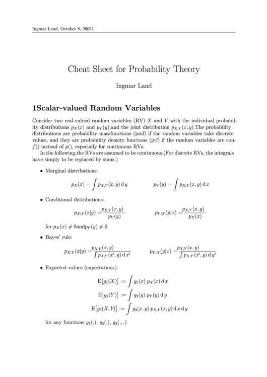 Cheat Sheet For Probability Theory Printable pdf