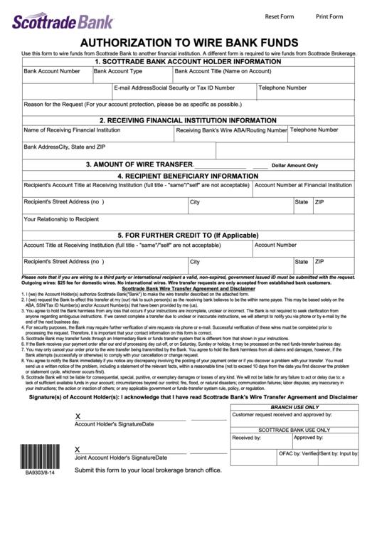 Scottrade Authorization To Wire Brokerage Funds - All Wiring ...