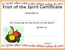 Fruit Of The Spirit Certificate