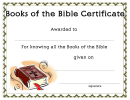 Books Of The Bible Certificate