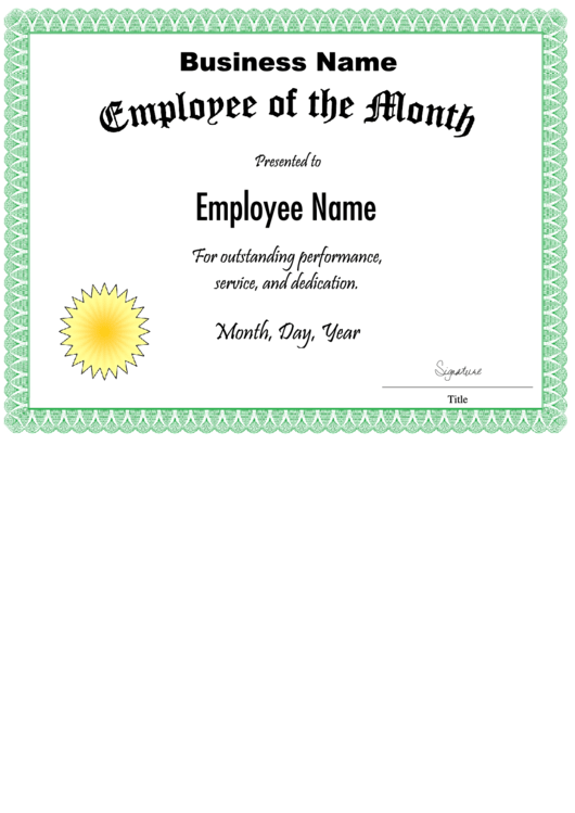 fillable employee of the month certificate template printable pdf download