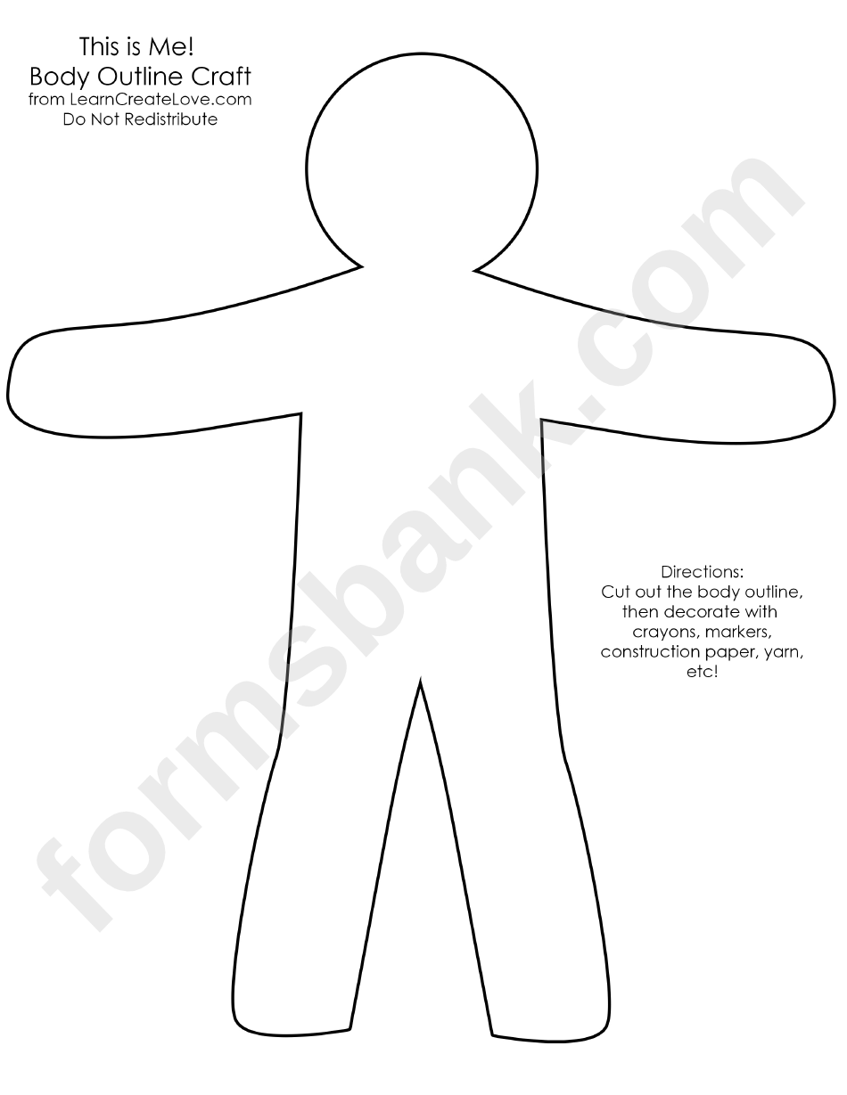 Body Outline Craft Template Printable Pdf Download