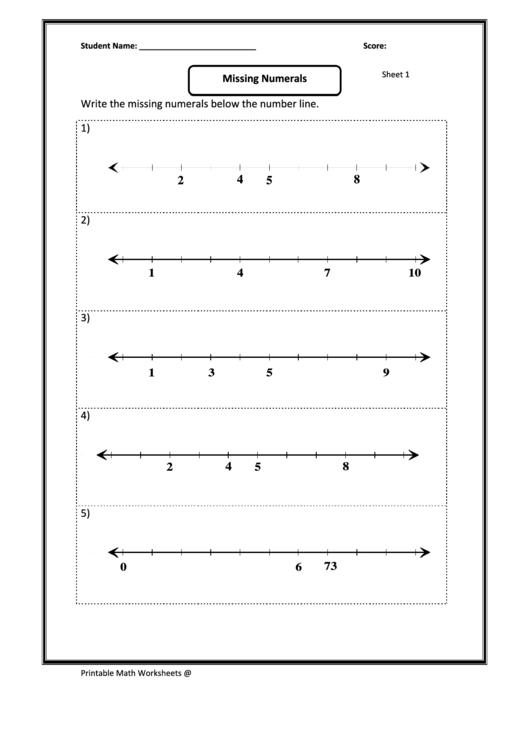 Missing Numerals Whole Number Sheet Worksheet