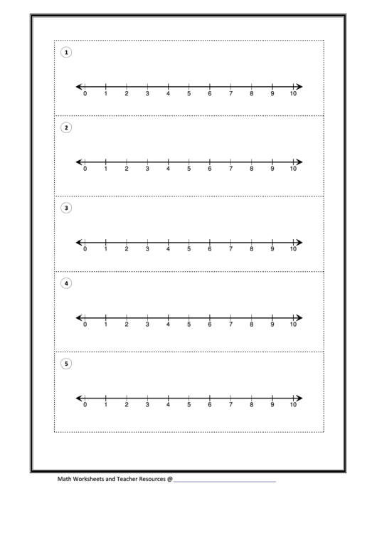 Number Line Templates 5 Per Page - 0-10