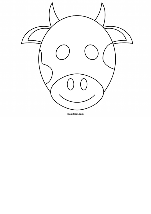 graphic relating to Cow Mask Printable Pdf known as Cow Mask Template Towards Coloration printable pdf obtain