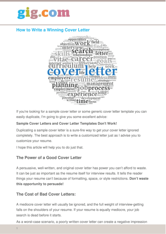 How To Write A Winning Cover Letter Printable pdf