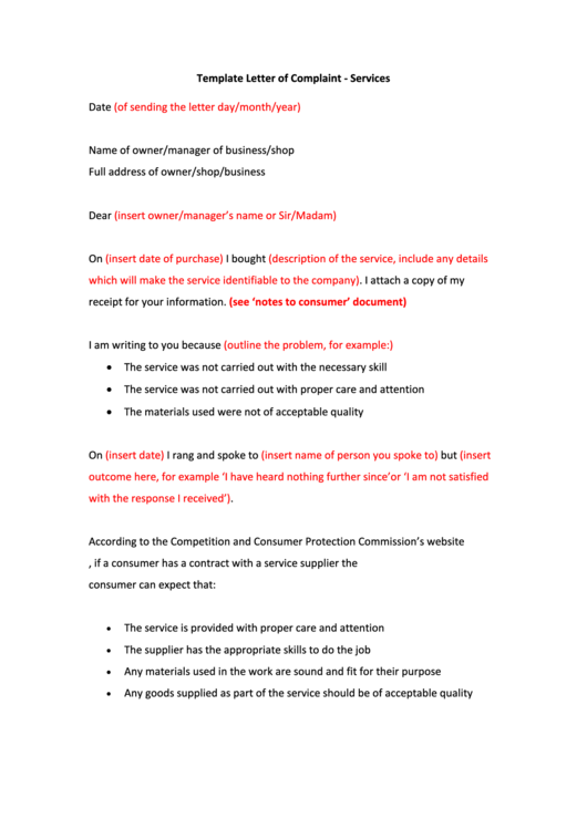 Template Letter Of Complaint Printable pdf