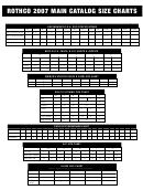 Rothco 2007 Main Catalog Size Chart