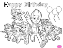 Paw Patrol Happy Birthday To Color