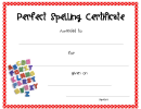Perfect Spelling Certificate Template