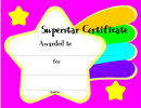 Superstar Certificate Template