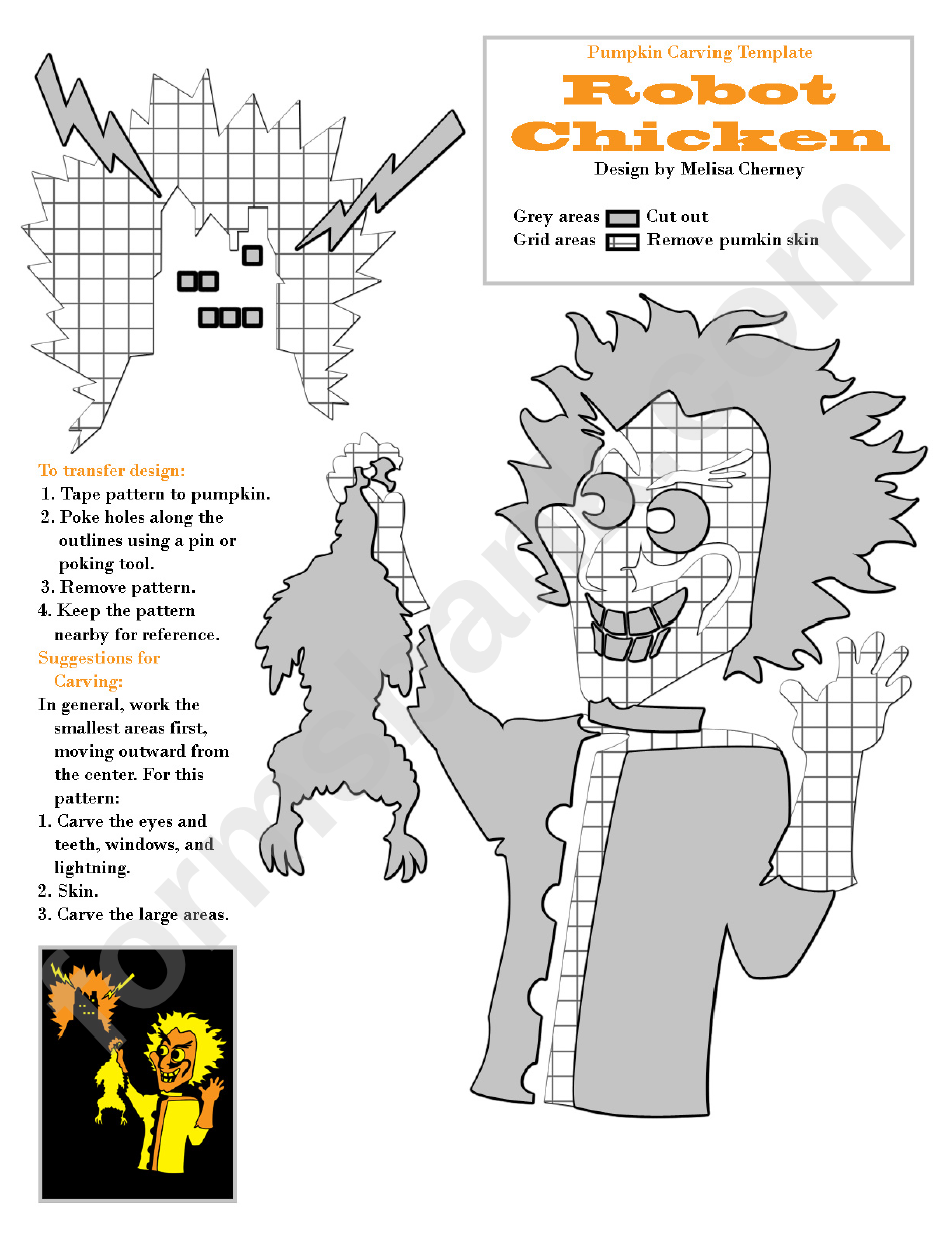 Robot Chicken Pumpkin Carving Template printable pdf download