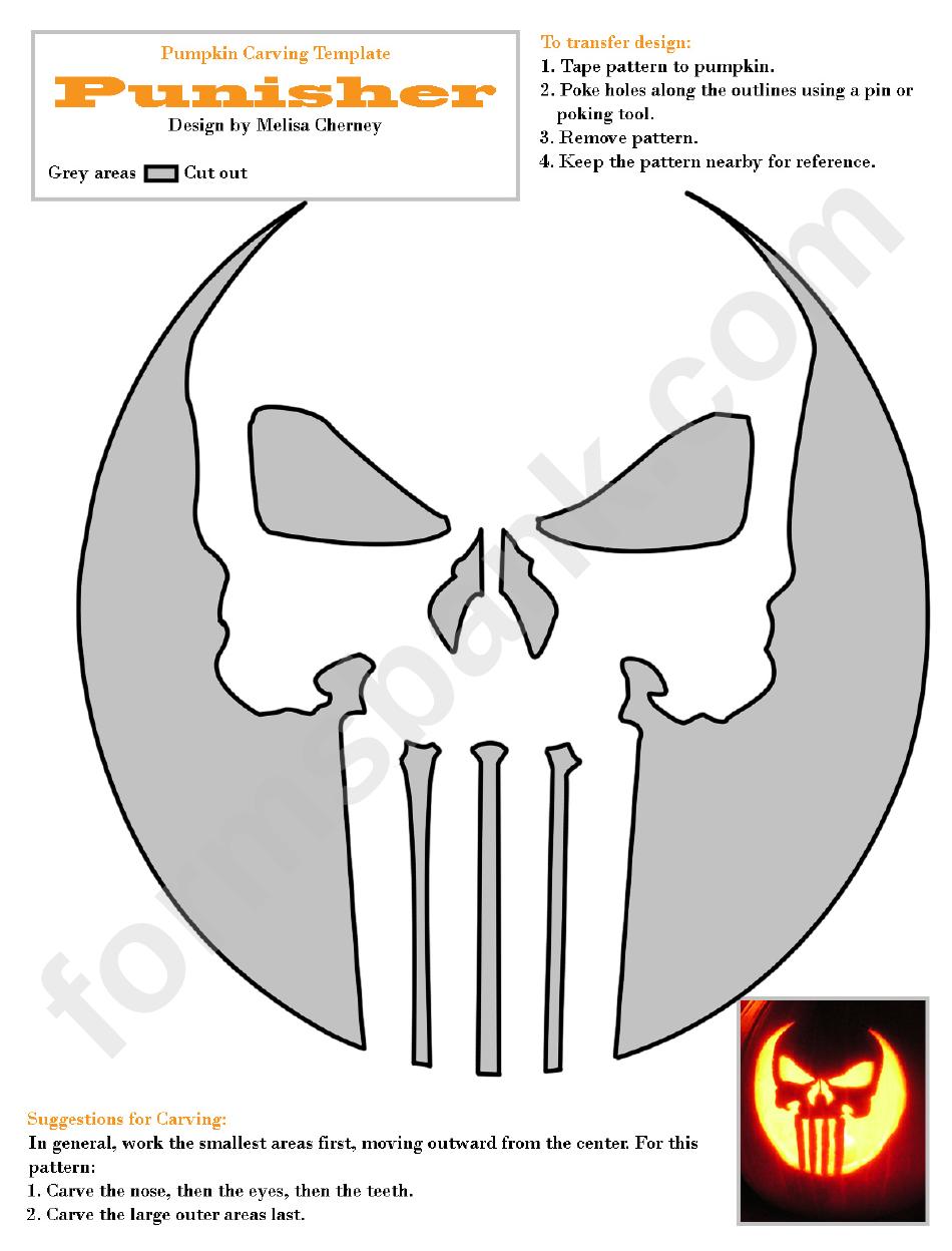 punisher pumpkin carving template printable pdf download