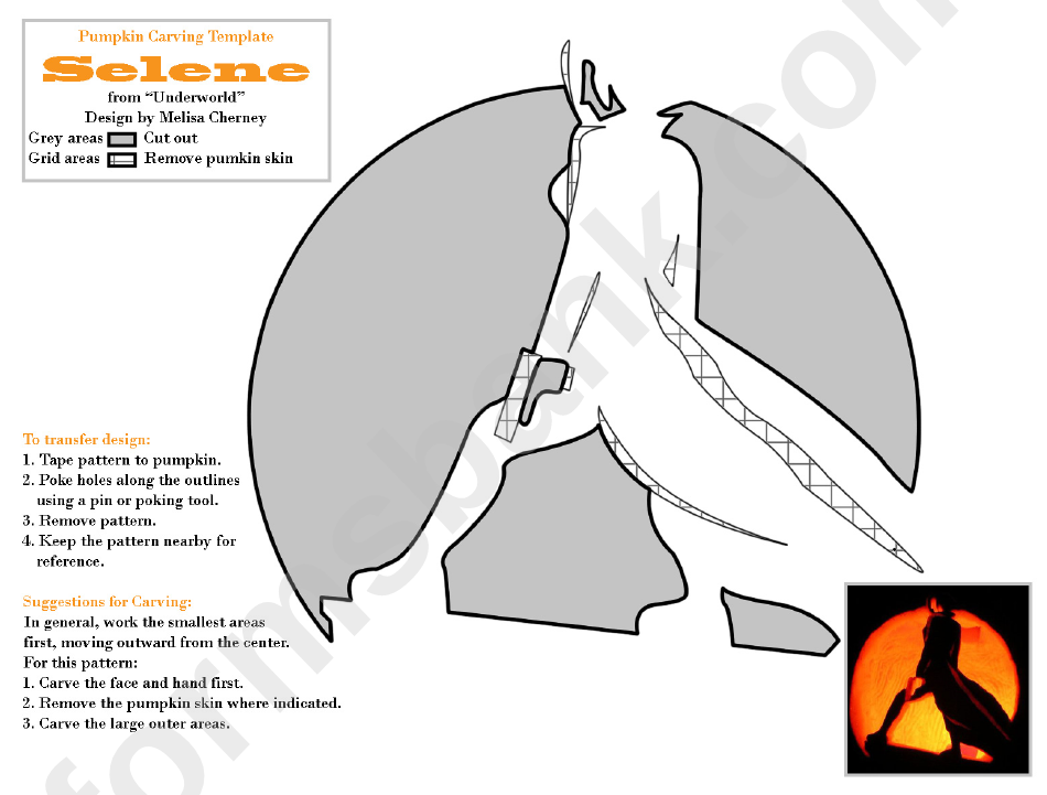 Pumpkin Carving Template Selene From